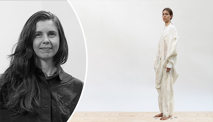 Portrait photo of Holly McQuillan next to a model wearing one of her garments, a white moulded woven tunic.