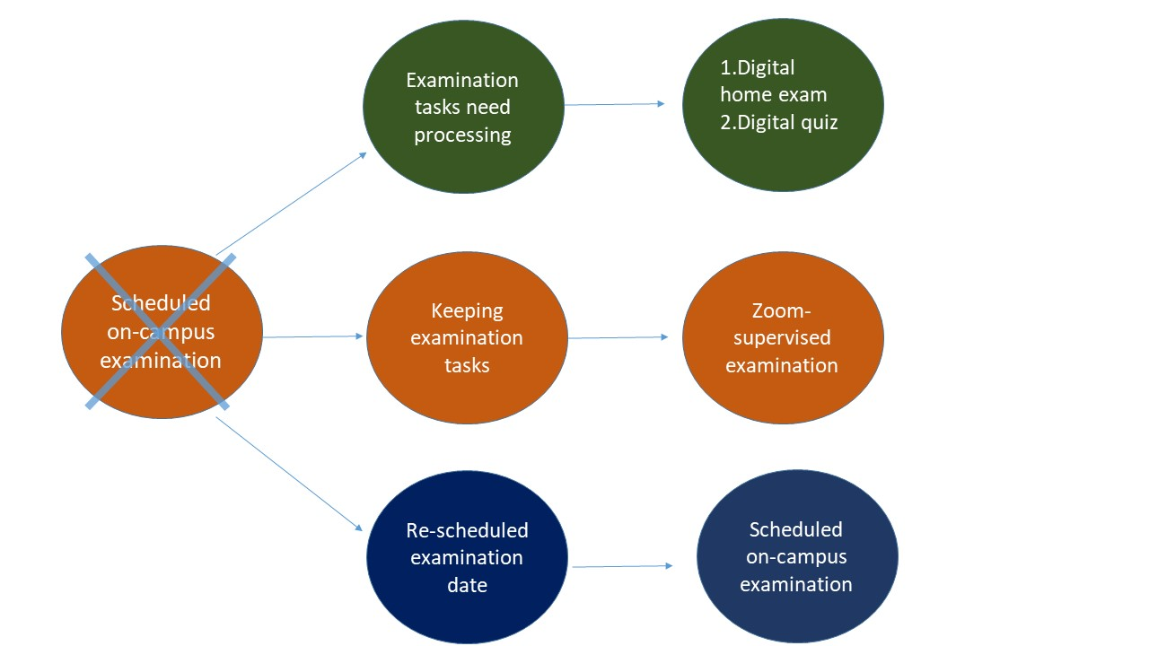 This illustration shows three ways that you can replace an on-campus examination. The top row shows that you can re-formulate the examination tasks and offer either a digital home examination or a digital quiz. The middle row shows that you can keep your examination as it is and offer a Zoom-supervised digital examination. The bottow row displays the choice to postpone your examination to a later date when the pandemic restrictions are lifted.